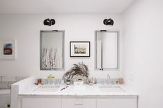 """Take out pony wall, raise tile around toilet 4-6"""". Midcentury Bathroom by Crowell + Co. Interiors"""