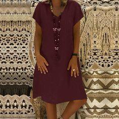 ZANZEA Women Summer Short Sleeve Cotton Linen Dress Vestido Robe Kaftan Femme Vintage V neck Floral Printed Party Sundress Ruffle Dress, Chiffon Dress, Dress Red, Short Sleeve Dresses, Dresses With Sleeves, Glitter Dress, Cotton Linen, Plus Size Dresses, Vintage Dresses