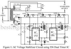 AC Voltage Stabilizer Circuit using 556 IC | Best Engineering ...