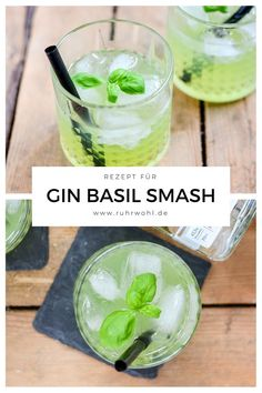 Recipe for gin basil smash in green and without muff – Cocktail Gin Drink Recipes, Gin Cocktail Recipes, Green Smoothie Recipes, Cocktail Drinks, Smoothies, Tonic Cocktails, Basil Cocktail, Gin Basil, Basil Smash