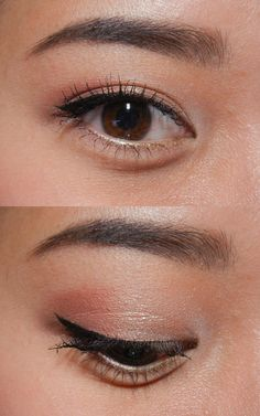 Eyeshadow ideas on Asian eyes by haodoyoudo: - NYX Eyeshadow Base in White - Bare Minerals Eyeshadow in Cultured Pearl in the inner corner - NYX Ultra Pearl Mania in Mink Pearl on the inner half of my lids - Inglot Freedom System AMC Blush in #58 on the outer half of my lids - Stila Stay All Day Liquid Eyeliner in Black Jane Cosmetics Water-Resistant Eye Liner in Rose Gold on the outer half of the waterline - Urban Decay 24/7 Glide On Eyeliner on Eldorado in the inner half of the water line