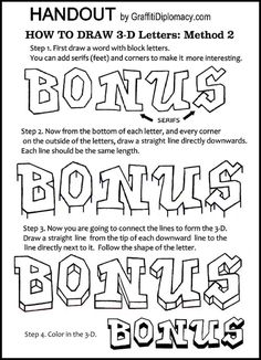 Learn How To Draw 3-Dimensional Letters - free Handout - Awesome graffiti method 2
