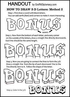 free graffiti 3-D drawing instructional handout