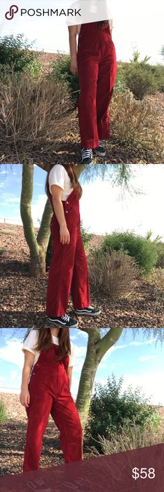"""Cherry overalls Favorite vintage Union Bay red velvet overalls❣️ size x-small or will fit a small-medium and shown on a 5'5"""" medium figure. Vintage Jeans Overalls"""