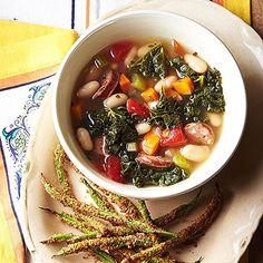 """Toss chicken sausage into a classic minestrone soup for more protein and flavor, then pair with crunchy green bean """"fries"""" for a light lunch."""