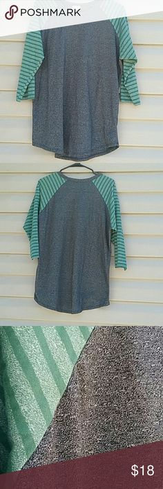 Lularoe baseball style top Lularoe top, dark gray with green striped sleeves NWOT SIZE XL LuLaRoe Tops