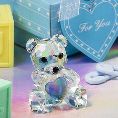 Crystal Blue Teddy Bear Favours / Bomboniere In Beautiful Blue Box