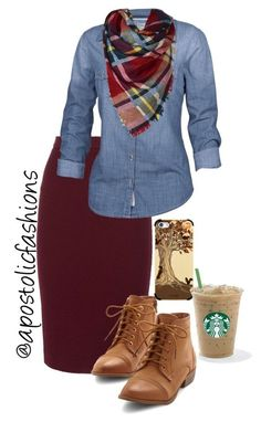 Really like the denim top. Skirt is definitely a no, though I like the color