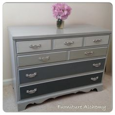 Annie Sloan Chalk Painted Grey Ombre Dresser by Furniture Alchemy