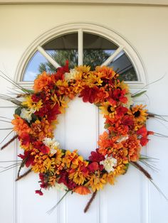 Fall Wreath made with dollar store flowers