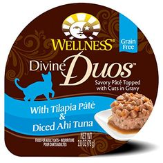 Wellness Divine Duos Natural Grain Free Wet Cat Food Tilapia  Ahi Tuna 28Ounce Cup ** Visit the image link more details. Note:It is affiliate link to Amazon.