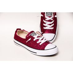 ee7bb3663f6d Glitter - Raspberry Pink Sparkly Canvas Shoreline Converse® Slip On  Sneakers Shoes