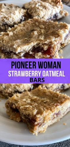 Feb 2020 - Strawberry Oatmeal Bars are the perfect bar to use up any leftover jam you have lying around in your pantry. The bottom layer is a buttery oatmeal crust and so is the top layer and in between those two layers is a center full of jam. Köstliche Desserts, Delicious Desserts, Dessert Recipes, Yummy Food, Healthy Food, Salad Recipes, Healthy Eating, Pioneer Woman Desserts, Pioneer Woman Recipes