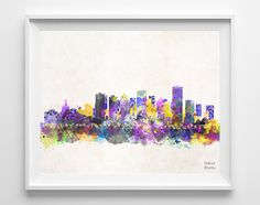 Edmonton Skyline Watercolor Print