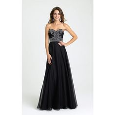 Madison James 16351 Prom Long Dress Long Strapless Sleeveless ($378) ❤ liked on Polyvore featuring dresses, gowns, black, formal dresses, prom ball gowns, beaded gown, formal gowns, prom dresses and long formal evening dresses