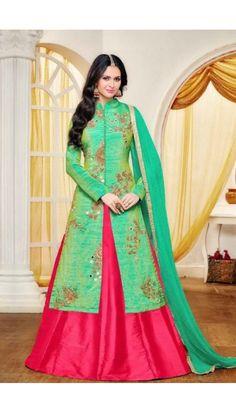 Pink Taffeta Lehenga with Banarasi silk Choli - DMV14642    http://www.andaazfashion.com.my/womens/lehenga-choli/partywear