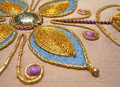 Summer's Glow (detail) ~ goldwork embroidery design (PDF download) by Anna Scott