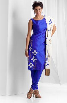 Silk churidar kurta with leather and silk applique work Punjabi Dress, Punjabi Suits, Salwar Suits, Salwar Kameez, Indian Fashion, Fashion Art, Womens Fashion, Lehenga Saree, Sarees