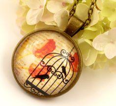 Zauberhafte Halskette mit Silhouetten Vogelkäfig von Schmucktruhe