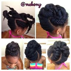 Updo Go to www. to see more tips, posts and pics like this! natural hair protective styles detangling natural hair kids hair care tips natural hair information locs natural hair inspiration ponytails braids beads ca Natural Hairstyles For Kids, Natural Hair Tips, Little Girl Hairstyles, Cute Hairstyles, Natural Hair Styles, Children Hairstyles, Natural Updo, Braided Hairstyles, Braided Updo