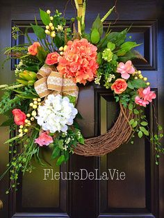 Summer Door Wreaths, Southern Door Wreaths, Spring Door Wreaths, Front door wreath, Grapevine Door Wreath, Hydrangea Wreath