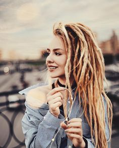 Dreads Dreadlocks Hair Hair pink Girl Summer Photographer