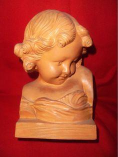 Statue buste terre cuite A de Ranieri enfant chérubin in Art, antiquités, Art du…