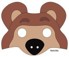 Masha and the bear mask lots more free printable kids for Immagini masha e orso da colorare