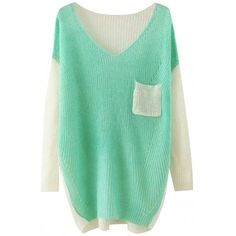 Color Block Loose Knitted Pullover (€25) ❤ liked on Polyvore featuring tops, sweaters, long sleeve pullover, loose fit sweater, pullover sweater, color block top and loose pullover