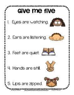 "Give me Five FREEBIE from Teacher Features on TeachersNotebook.com -  (2 pages)  - FREE and super-cute! Two variations on ""Give Me Five"" are included. Download now for Back to School use. (2 pages)"