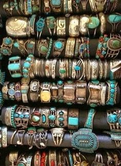 ☮ American Hippie Bohemian Boho Style ~ Jewelry .. Silver Turquoise Cuffs
