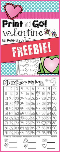 FREE printable practice pages for valentines fun in kindergarten!  (Mrs. Byrd's Learning Tree)