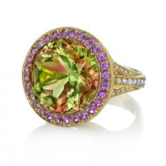 erica-courtney-2-ring-18kt-yellow-gold-csarite-pink-sapphire-diamonds $45,000.00 This spectacular piece of jewelry is made of Csarite, Pink Sapphires and Diamonds set in 18 kt yellow gold.