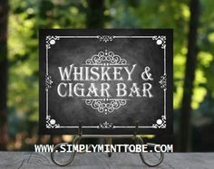Jack Daniels Inspired Whiskey & Cigar Bar Sign Poster Chalkboard Graphic Print for weddings, birthdays, bachelor parties, corporate event