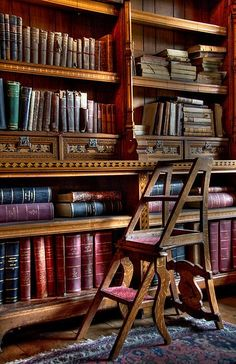 Library bookcase design - large shelves underneath for folios; Beautiful Library, Dream Library, Beautiful Homes, Simply Beautiful, Library Ladder, Library Books, Library Chair, Library Shelves, Antique Books