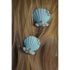Seashell Hair Clip ($6.99) ❤ liked on Polyvore featuring accessories, barrettes & clips, dark olive and hair accessories