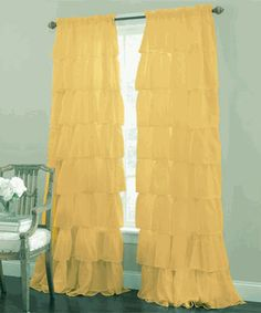 """Gypsy Ruffled 63"""" Curtain Panel, Gold, by Lorraine Home Fashions"""
