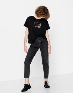 Pull&Bear - woman - clothing - t-shirts - slogan t-shirt - black - Slogan Tshirt, T Shirt, Pull N Bear, Normcore, Clothes For Women, Tees, Woman Clothing, Collections, Graphics