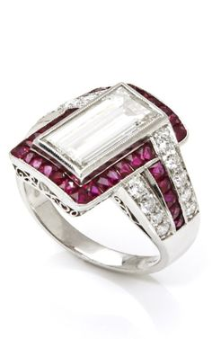Tara Compton Platinum Estate Ring with Diamonds and Rubies