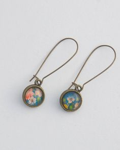 These gorgeous drop earring are double sided and can be turned around to be worn the other way.  Wear both sides matching or even mismatched if you want!The brass hooks are around 30mm long  - a ... Sea Jewelry, Handmade Jewelry, Jewellery, Brass Hook, Hooks, Jade, Floral Prints, Fashion Jewelry, Pendant Necklace