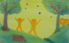 Waldorf ~ 3rd grade ~ Old Testament ~ Creation Story ~ Adam & Eve in Eden ~ watercolor painting