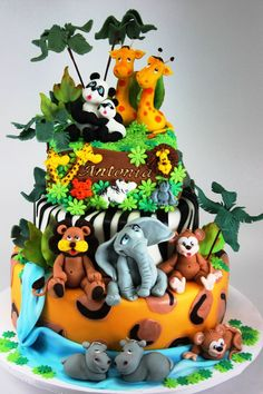 Zoo Birthday Cake Ideas Www.ibirthdaycake/zoo-Birthday with Safari Cake Designs - Cake Design Ideas Zoo Birthday Cake, Animal Birthday Cakes, Jungle Theme Cakes, Safari Cakes, Unique Baby Shower Cakes, Zoo Cake, Cupcakes Decorados, Birthday Cake Decorating, Novelty Cakes