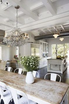 Gorgeous Shabby Chic Home Decor.  Would have different chairs maybe all different colours