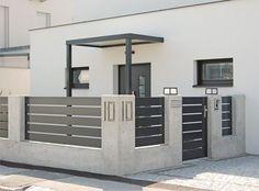 Simple Minimalist Yet Charming House Fence Design Ideas – CasaNesia - Modern Charming House, House Fence Design, Home, Minimalist Home, House Exterior, Gate Design, House, Modern, Modern Design