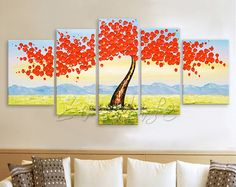 5 piece Hand Painted Oil Painting blossom Canvas Palette Knife 3D Flower Wall Art Pictures for living room home decor cuadros decoracion 9