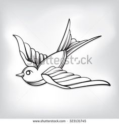Black And White Sparrow Tattoo Design Sample