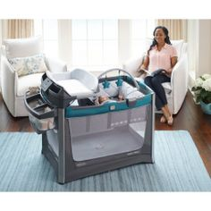 Amazon.com : Graco Pack 'N Play Playard Smart Stations, Sapphire : Baby