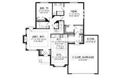 Floor Plan AFLFPW76171 - 1 Story Home Design with 2 BRs and 2 Baths