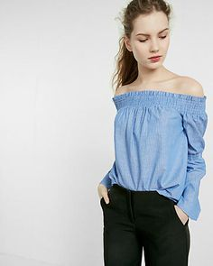 6748a626635c47 off-the-shoulder smocked top Internship Outfit