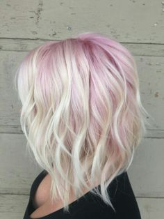 Pastel pink and blonde choppy Bob